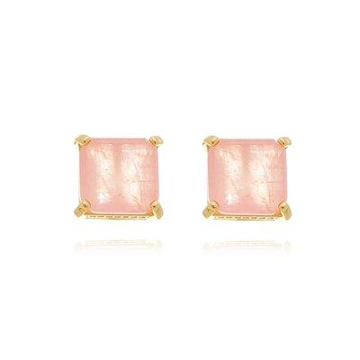 Brinco De Prata Quadradinho Rosa Quartzo Dourado Fusion