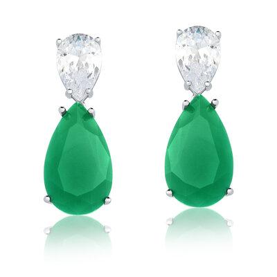 Brinco Em Prata Jolie Cristal E Jade