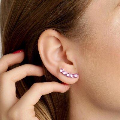 EAR CUFF DE PRATA GRACE ROSA CRISTAL