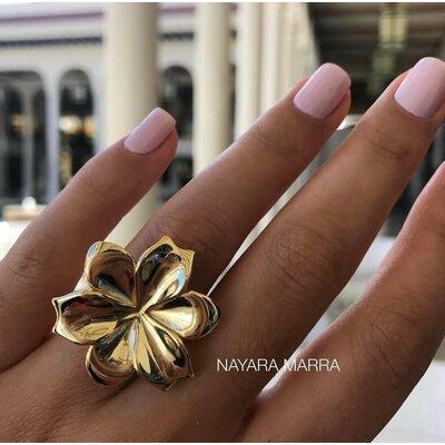 Anel Em Prata Flor Clássica Dourado