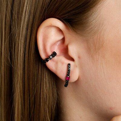 EAR HOOK SURI RÓDIO NEGRO E RUBI