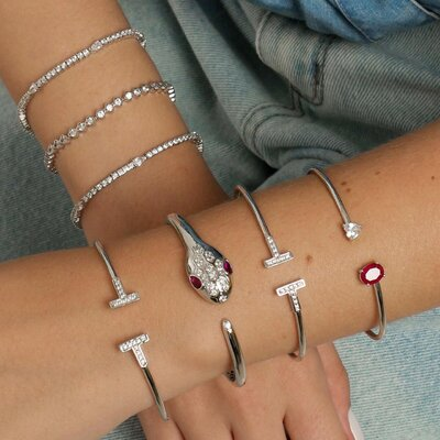 Bracelete Serpente Rubi