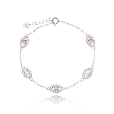 Pulseira Em Prata Olho Grego Cristal e Pink