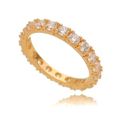 Anel De Prata Aparador Cravejado Clássico Dourado