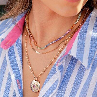 Conjunto de Colares Riviera Color, Naomi, elos e Pingente Olho Grego