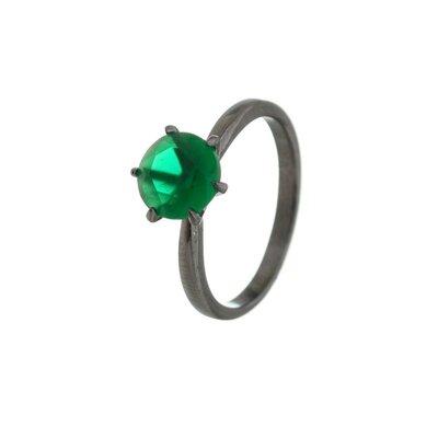 Anel Em Prata Solitário Clássico Negro Jade Verde