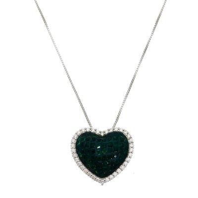 Colar Cravação Invisível Coração Verde Ródio