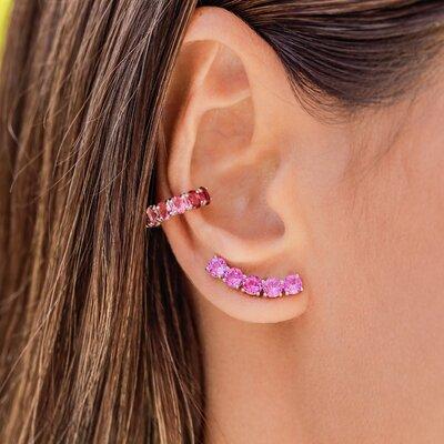 Ear Cuff Em Prata Grace Rosa Cristal Ródio