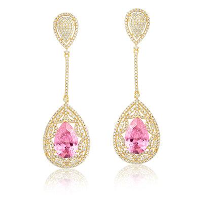 Brinco Em Prata Lemi Dourado e Quartzo Rosa
