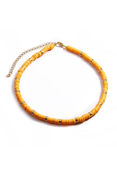 Colar Beads Hematitas Tangerina