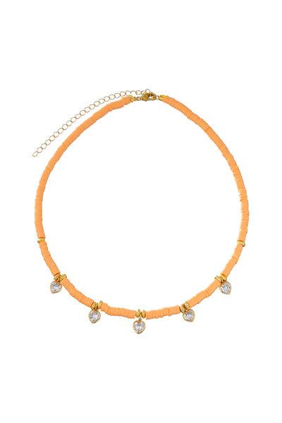 Colar Beads Corações Papaya