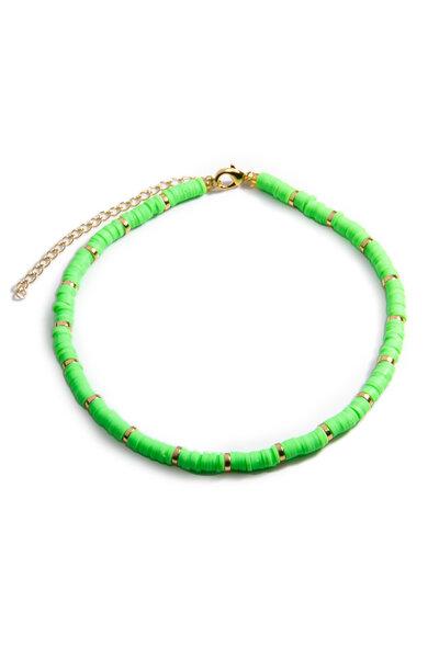 Colar Beads Hematitas Lime