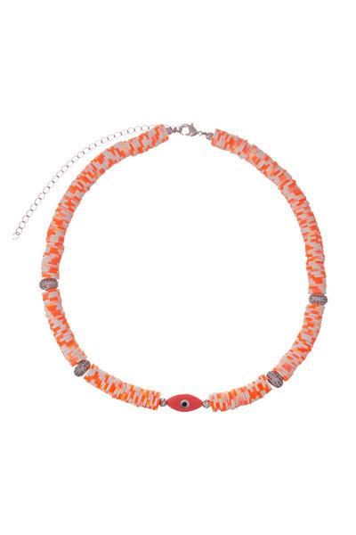 Colar Beads Olho Proteção Tangerina