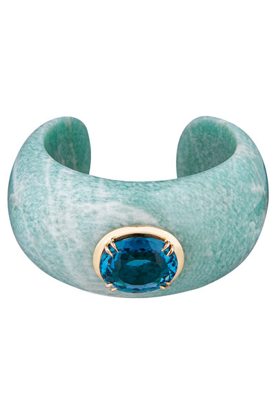 Bracelete Amazonita com Topázio Swiss