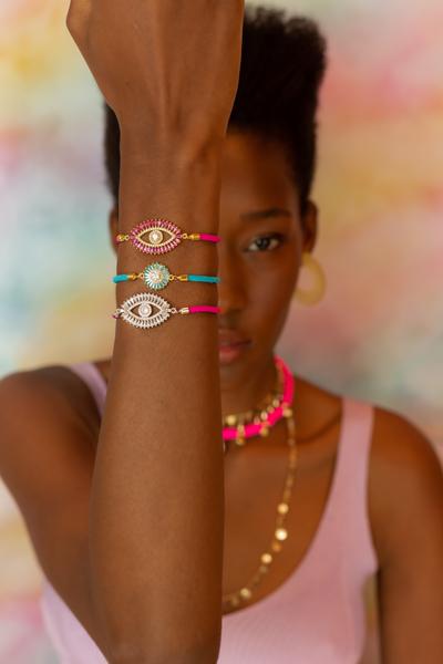 Pulseira Energy Pink Olho Cristal