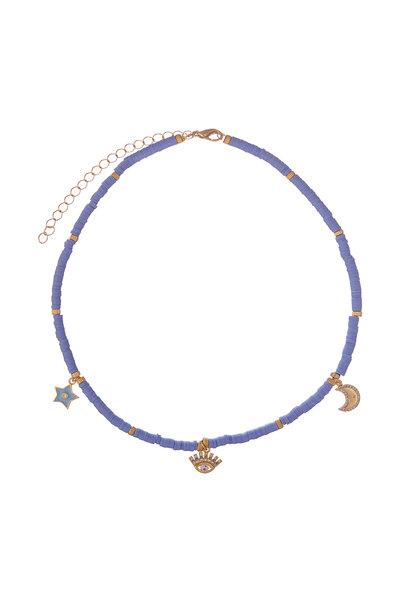 Colar Beads Olho e Estrelas Azul Celeste