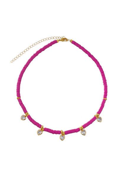 Colar Beads Corações Rosa Coríndon