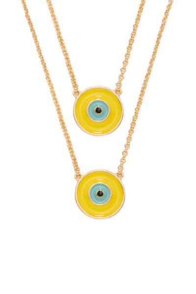 Escapulário olho grego amarelo