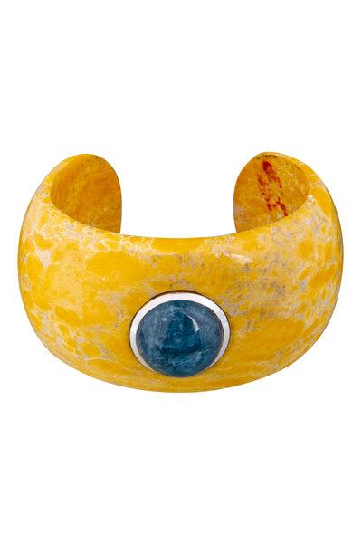 Bracelete Quartzo Amarelo com Água Marinha