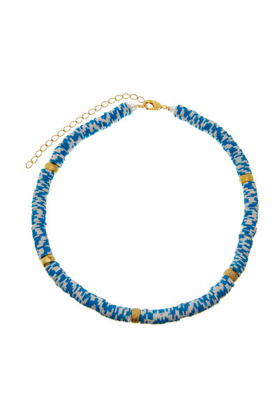 Colar Beads Dourados Azuis