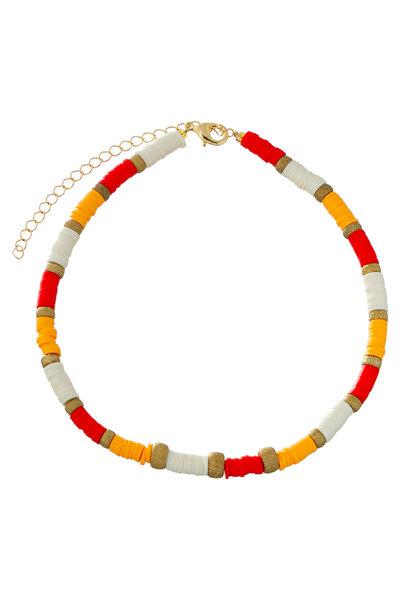 Colar Beads Dourado Tons Laranja