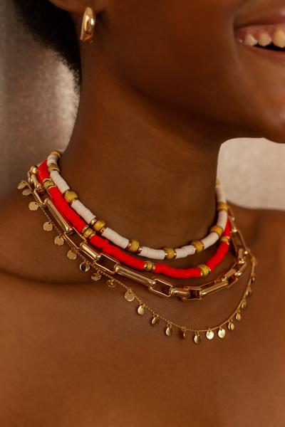 Colar Beads Off White Hematitas
