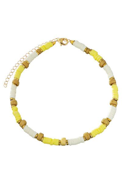 Colar Beads e Hematitas Amarelo