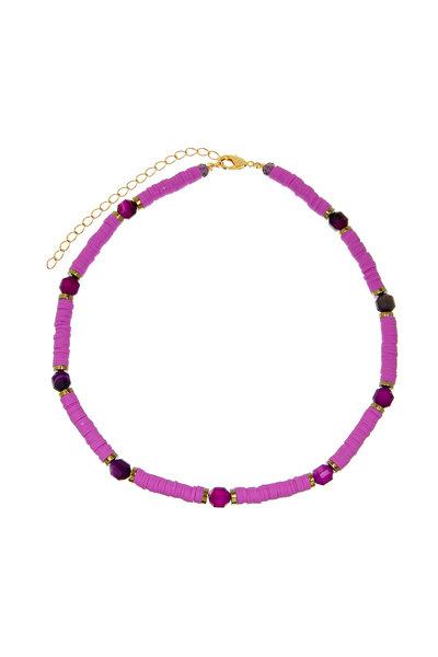 Colar Beads com Ágatas Lavanda