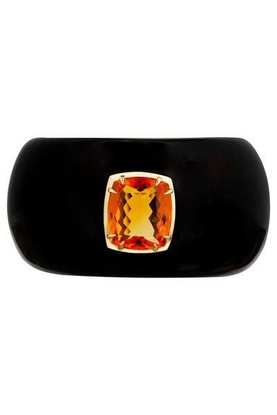 Bracelete Ônix com Cristal Citrino