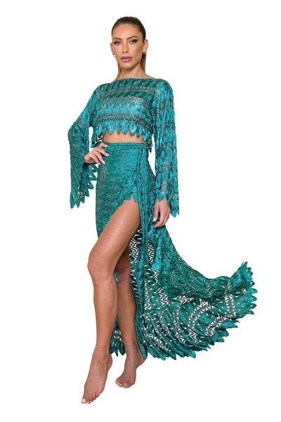 Top Cropped Milenar de Renda Verde Esmeralda
