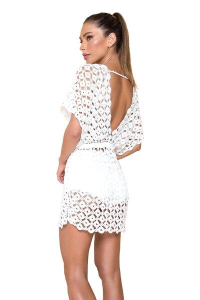 Saída Blanca Midi de Crochet Off White