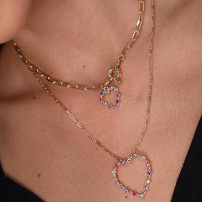 Colar Choker Cartier Coração Cravejado Colors - Banho Ouro 18k