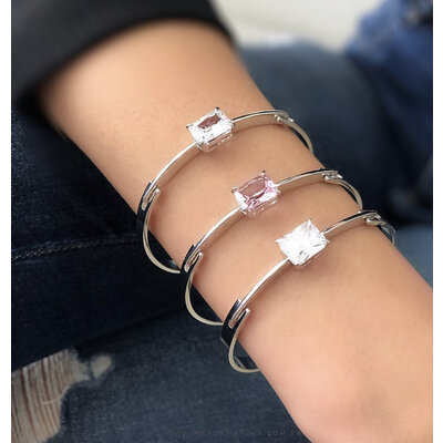 Bracelete Pedra Cristal Kunzita - Ródio Branco