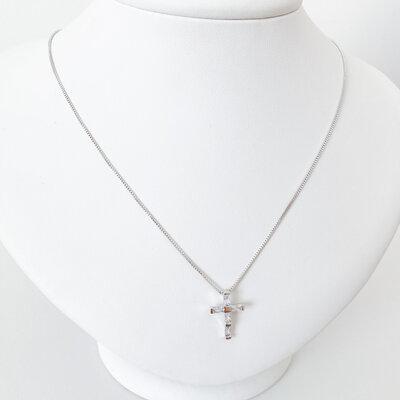 Colar Cruz Cristais Baguetes -Banho Ródio Branco