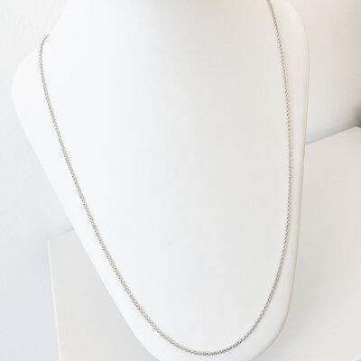 Corrente Elo Português Longo 60cm - Banho Ródio Branco