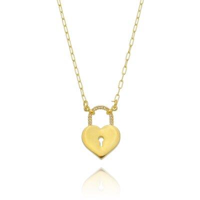 Colar Cartier Coração Cadeado Cravejado - Banho Ouro 18k