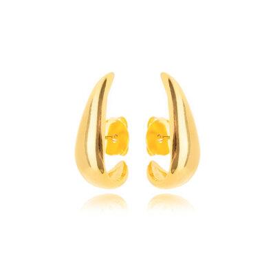 Brinco Ear Hook Liso - Ouro 18k