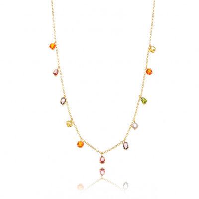 Colar Cravejado Cristal Colors - Ouro 18k