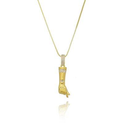 Colar Cartier Figa Cravejado - Banho Ouro 18k