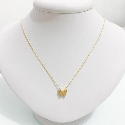 Colar Borboleta Micro Zircônias - Ouro 18k