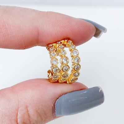 Brinco Piercing Fake Zircônias Cristal - Banho Ouro 18k