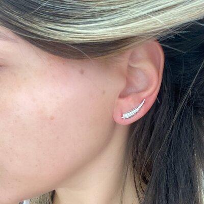 Ear Cuff Folha - Prata 925