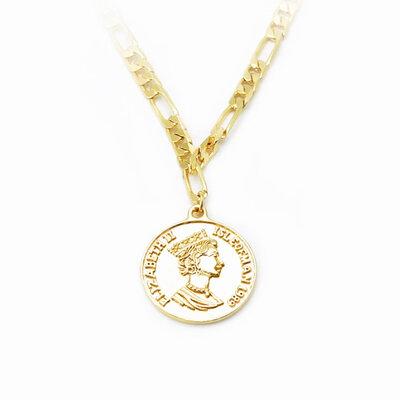 Colar Corrente Medalha Moeda Inglesa - Banho Ouro 18k