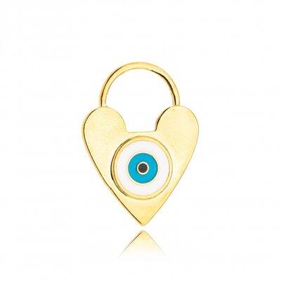 Pingente Coração Olho Grego Esmaltado - Banho Ouro 18k