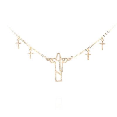 Colar Cristo Redentor com Cruzes - Banho Ouro 18k