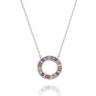 Colar Mandala Baguete Colors - Prata 925