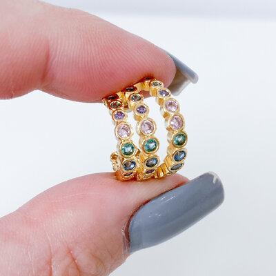 Brinco Piercing Fake Zircônias Colors - Banho Ouro 18k