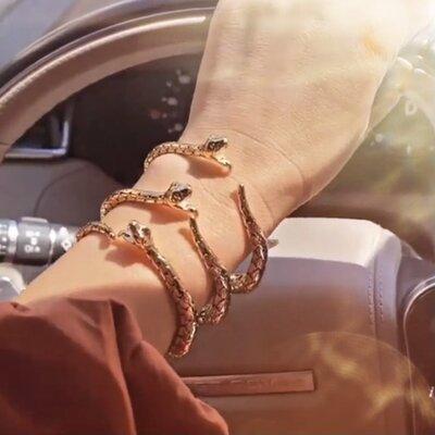 Bracelete Serpente Detalhado - Banho Ouro 18k