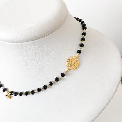 Colar Gargantilha com Medalha de São Bento e Estrelas - Banho Ouro 18k