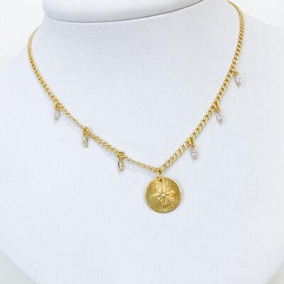 Colar Choker Zircônias e Medalha - Banho Ouro 18k
